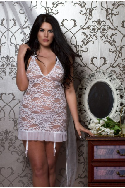 White Lace BabyDoll Dress with Removable Garters  and Matching Thong