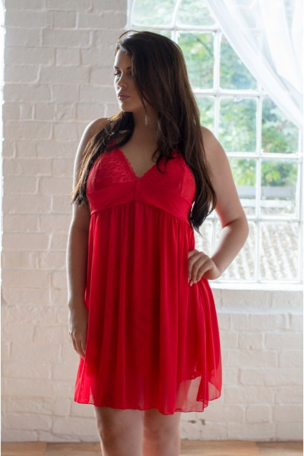 Red Double Layer Lace & Mesh Nightwear