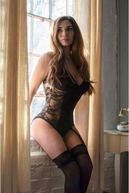 Black Lace Body Teddy with Suspenders Sizes 12-18