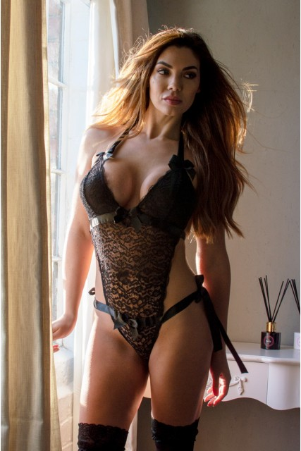 Black Lace Teddy with Satin Bows