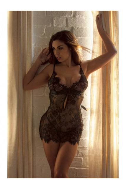 Black Lace Babydoll with Satin Bow