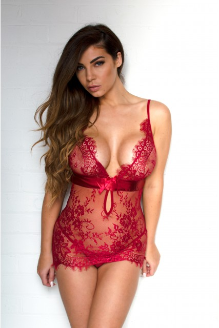 Dark Red Lace Babydoll with Satin Bow