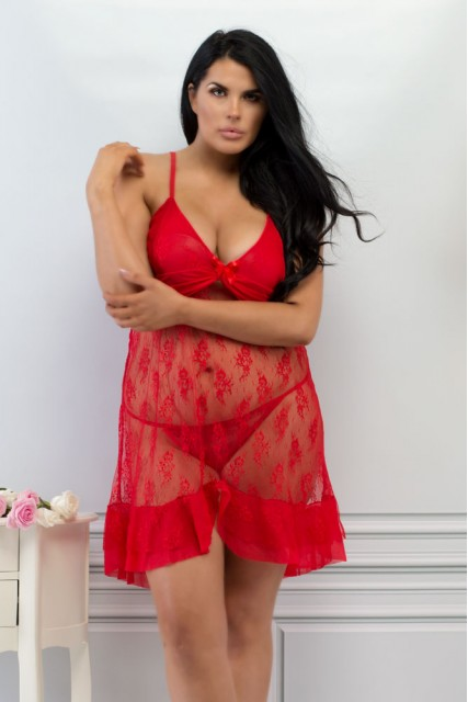 Plus Size Red Lace Babydoll with Ruffle