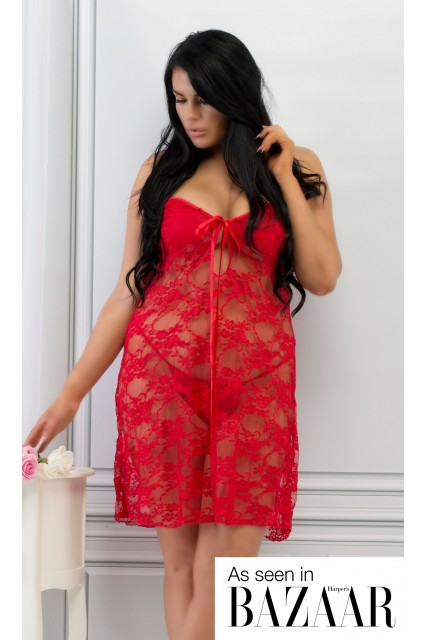Plus Size Red Lace Babydoll Set