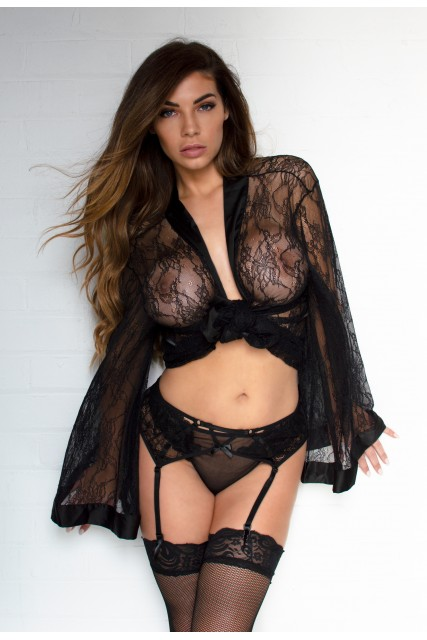 Fab Black Lace Suspenders and String Set